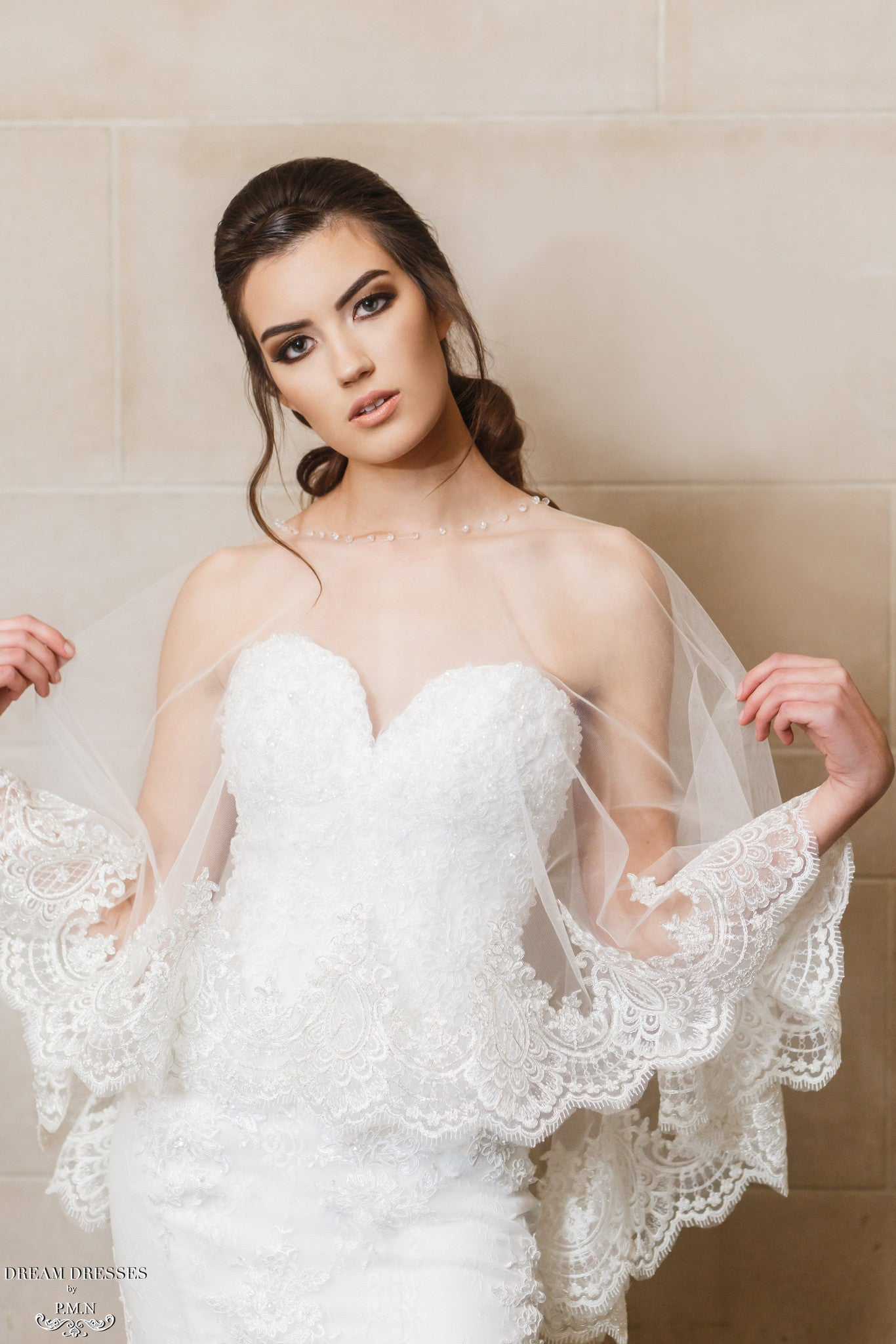 Lace Bridal Cape (#Léonie) - Dream Dresses by P.M.N  - 1