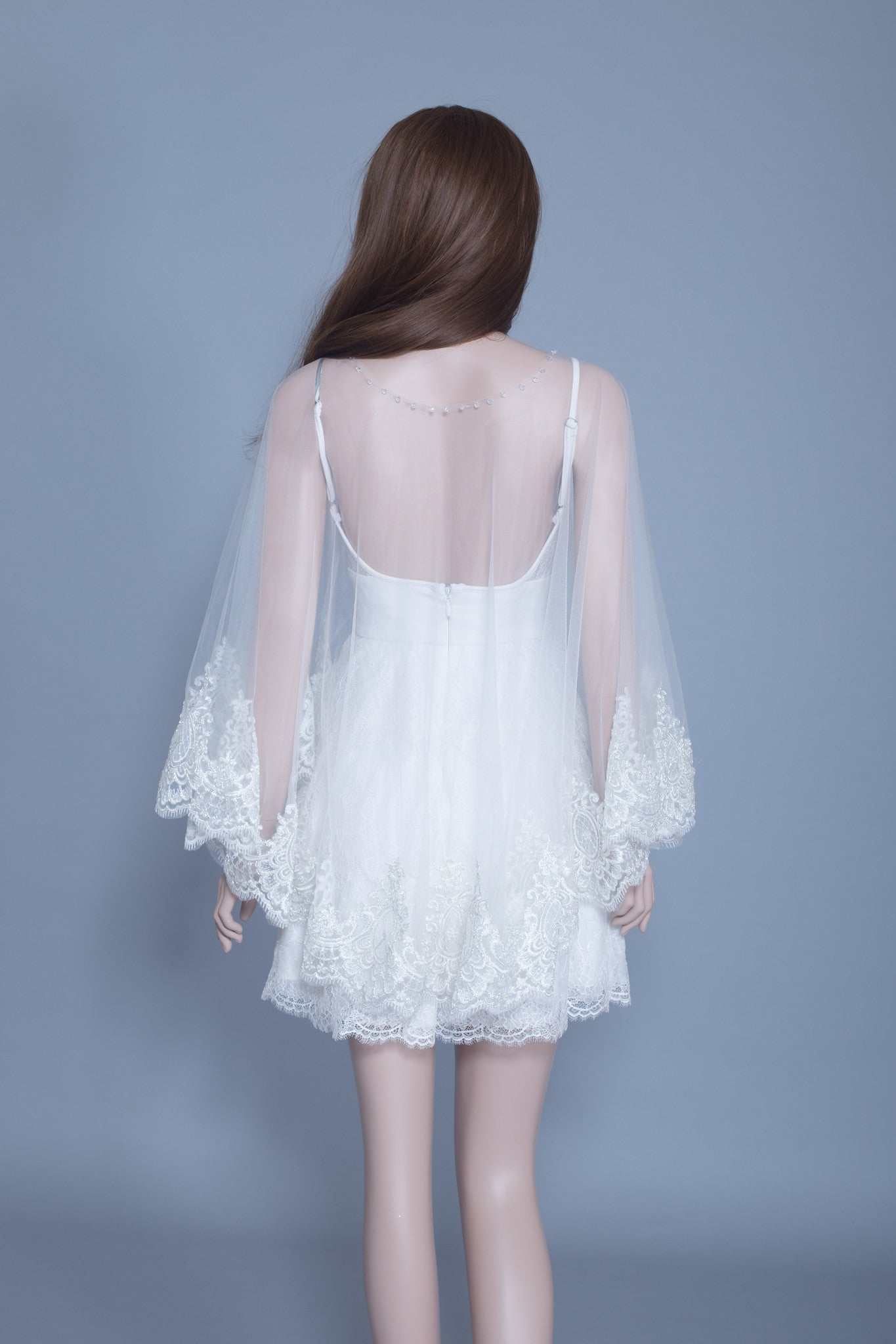 Lace Bridal Cape (#Leora) - Dream Dresses by P.M.N  - 3