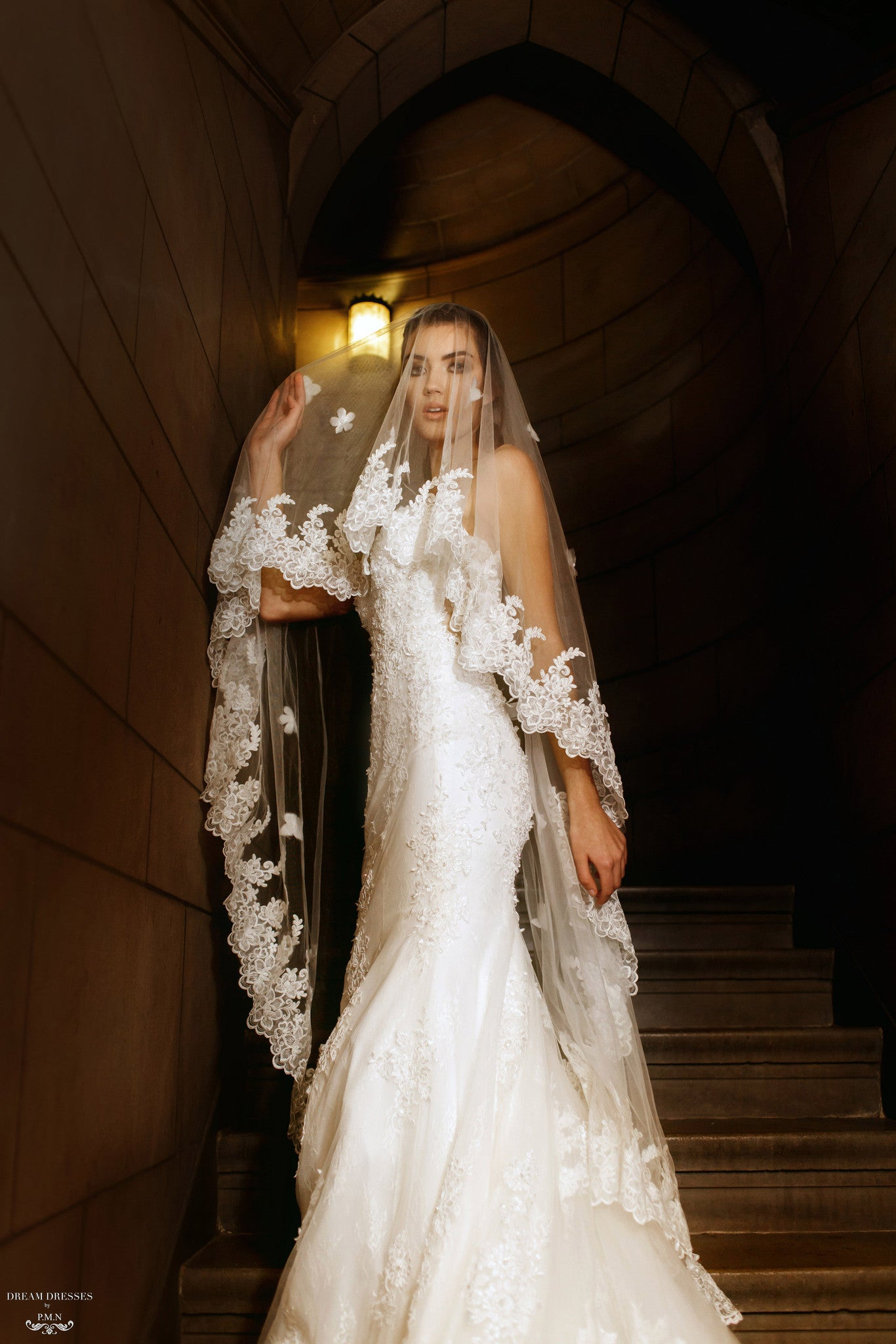 Lace Wedding Veil With Blusher (#Maise)