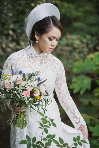 White Bridal Ao Dai | Vietnamese Lace Bridal Dress (#MELISSA)