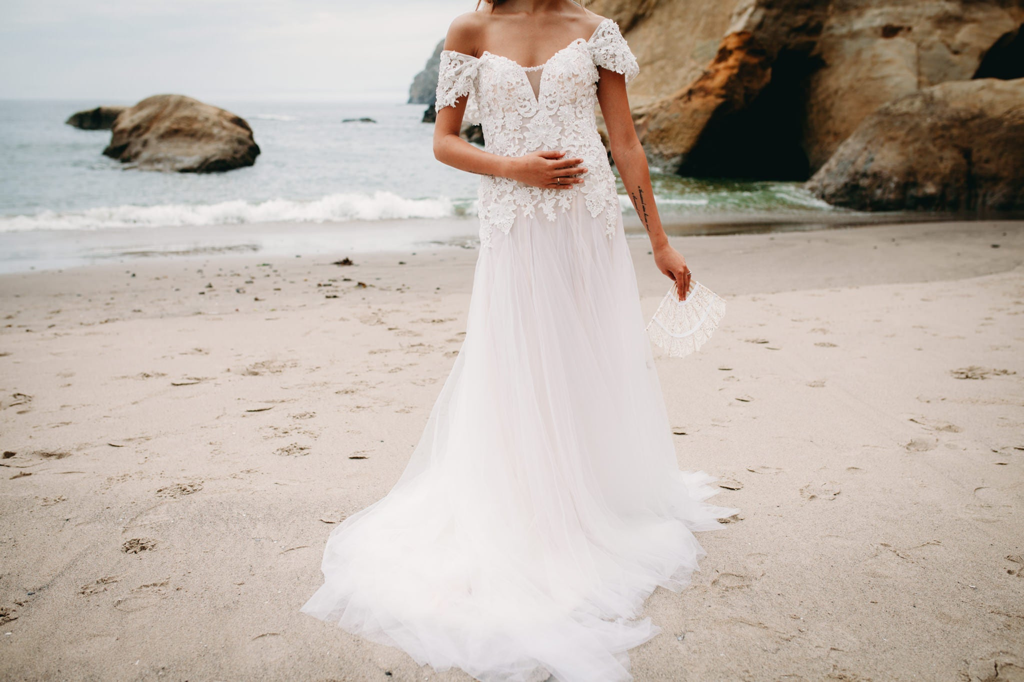 Lace Tulle Gown With Removable Off Shoulder (Style #PB192)