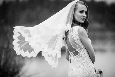 Two Tier Elbow Length Bridal Veil with Lace Appliqué (#PB131) - Dream Dresses by P.M.N  - 1