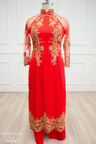 Red and Gold Ao Dai | Vietnamese Lace Bridal Dress (#TALISA)