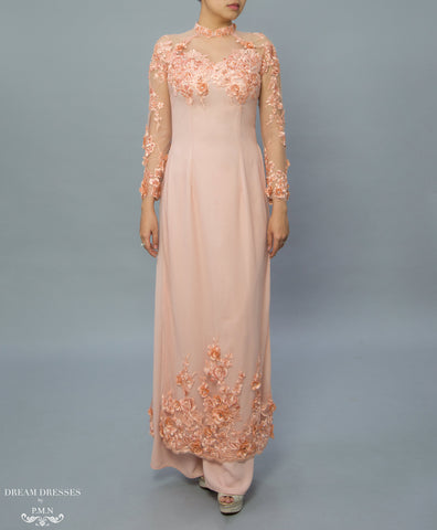 Peach Color Ao Dai / Mother of The Bride Ao Dai (#MAIYA)