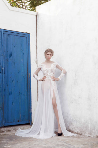 Illusion Long Sleeve Wedding Gown (#Marielle)