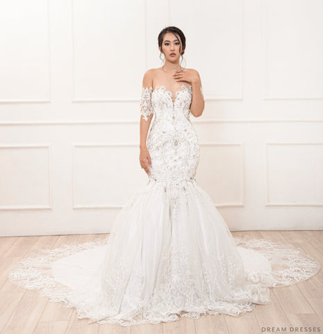 Mermaid Wedding Gown with Rhinestone Crystals (#Miranda)