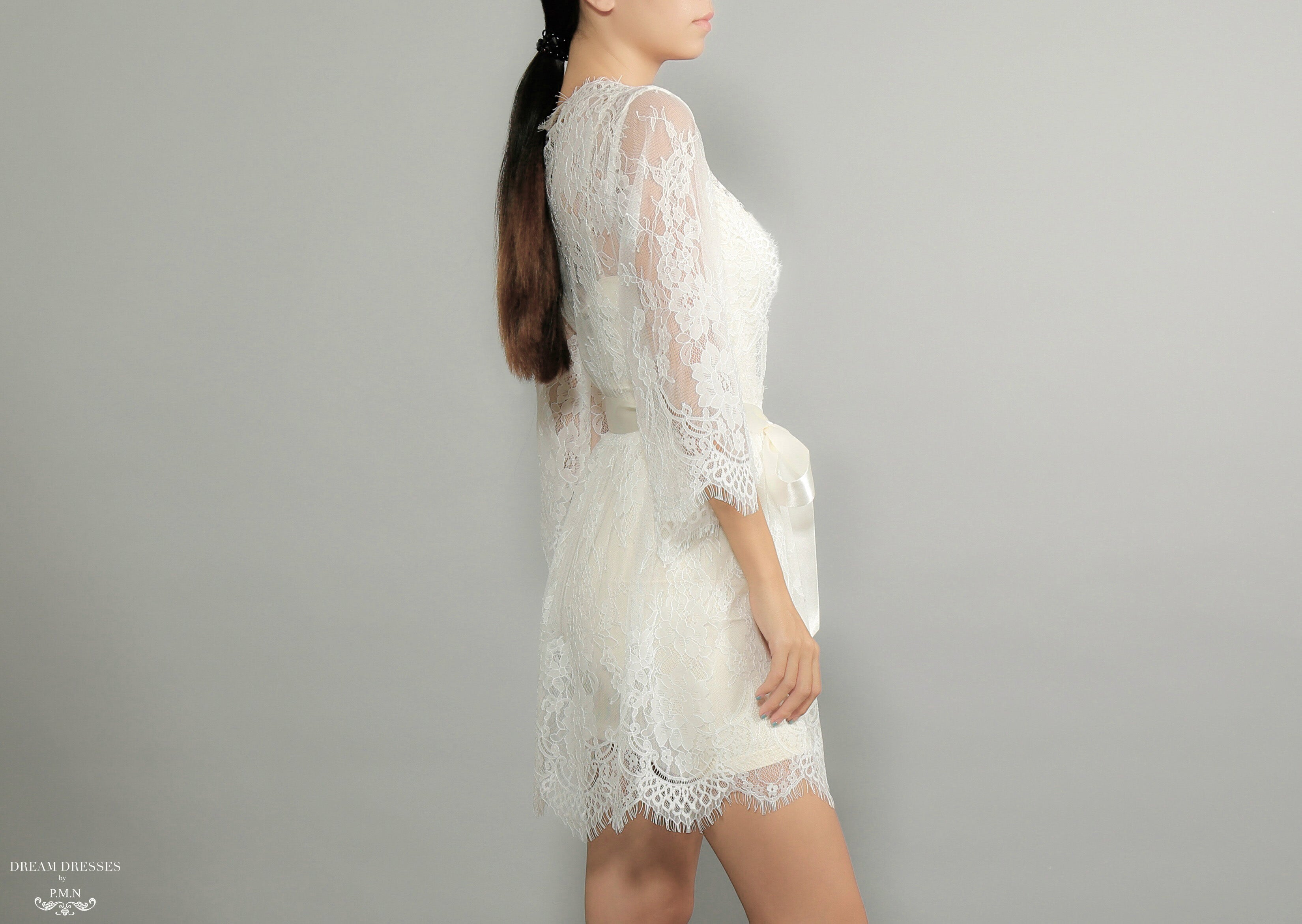 Bell Sleeve Bridal Lace Robe (#Miriam)