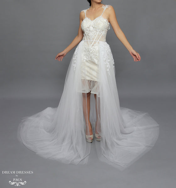 Traditional Wedding Gowns With Detachable Trains: Detachable Lace Wedding Train