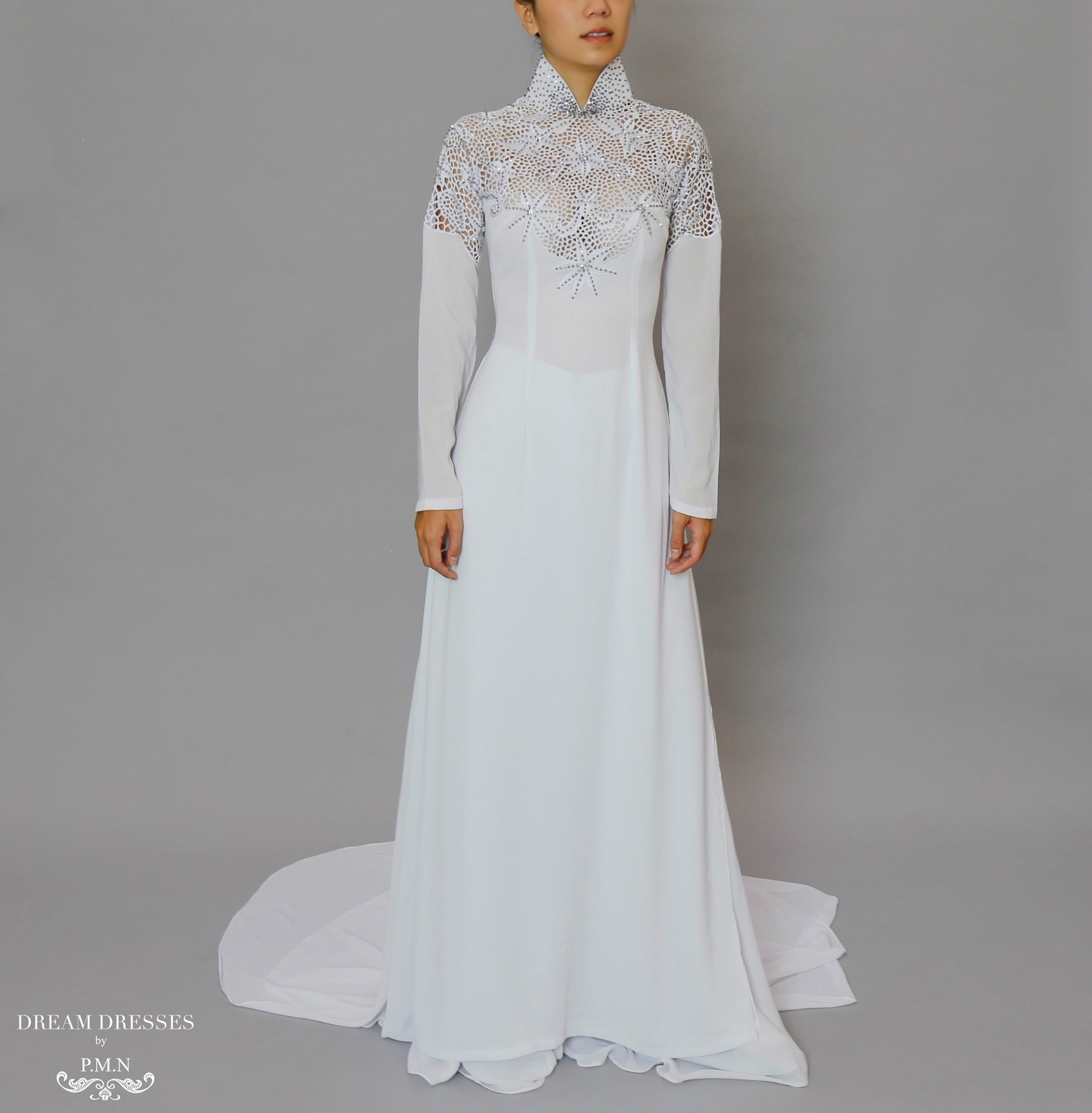 White Bridal Ao Dai | Vietnamese Bridal Dress with Embellishment (#ODILE)