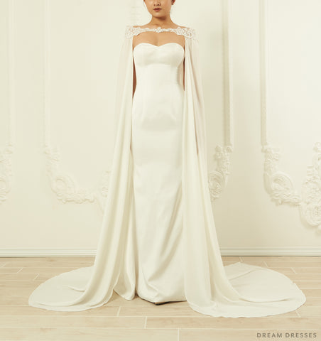 Off Shoulder Chiffon Bridal Cape (#ORVA)