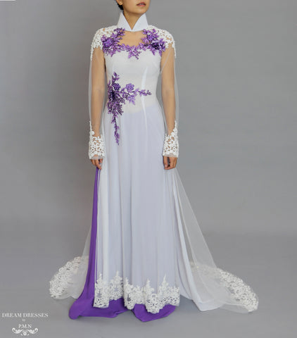 White and Purple Ao Dai | Beaded Lace Vietnamese Bridal Dress (#OCTAVIA)