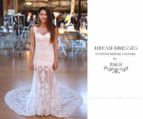 SAMPLE SALE/ Sexy Sheer Mermaid Wedding Dress (style # Kyra PB086) - Dream Dresses by P.M.N  - 1