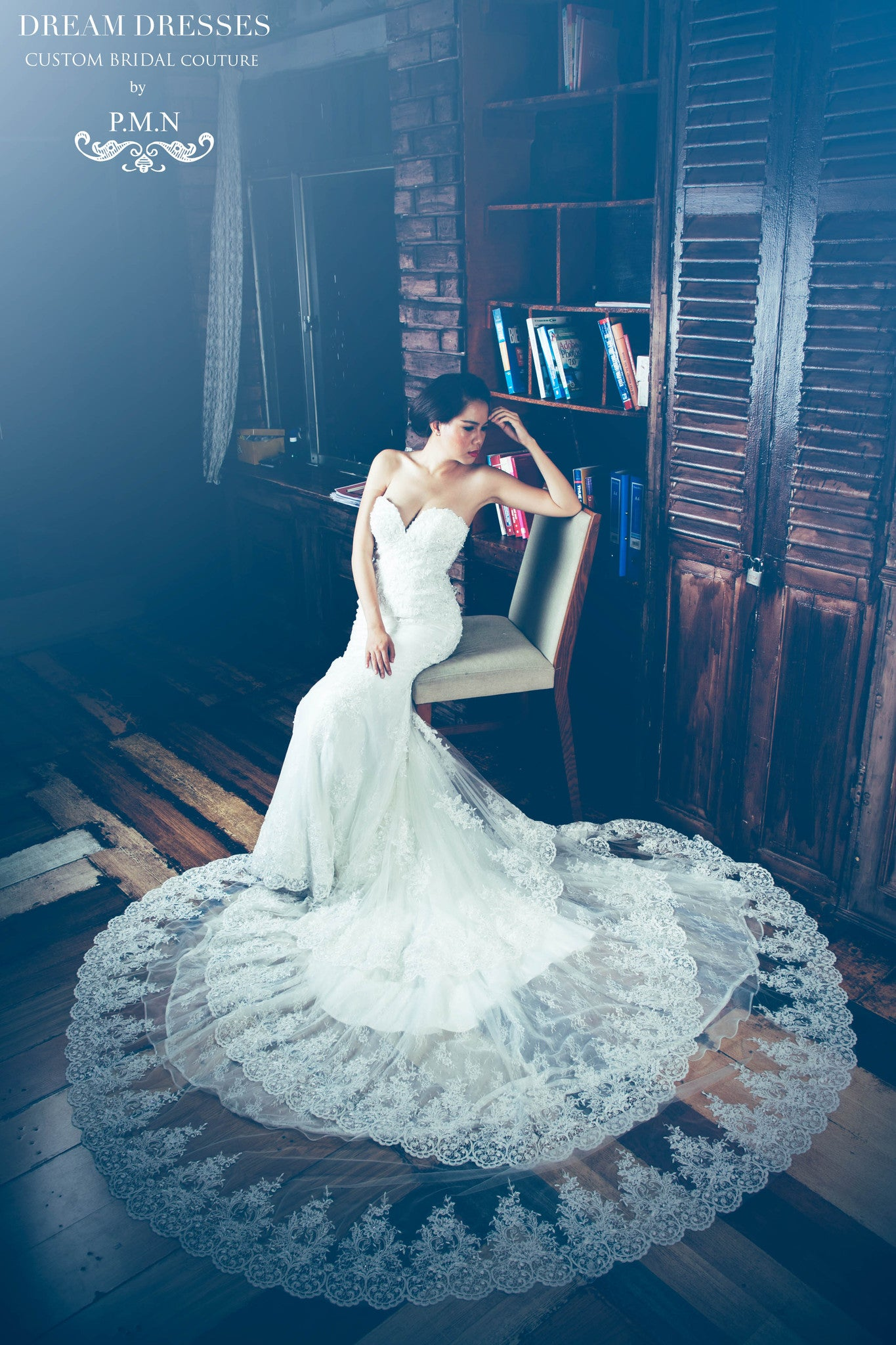 SAMPLE SALE/ Sweetheart Strapless Wedding Dress with Three Layer Long Train (# PB094) - Dream Dresses by P.M.N  - 3