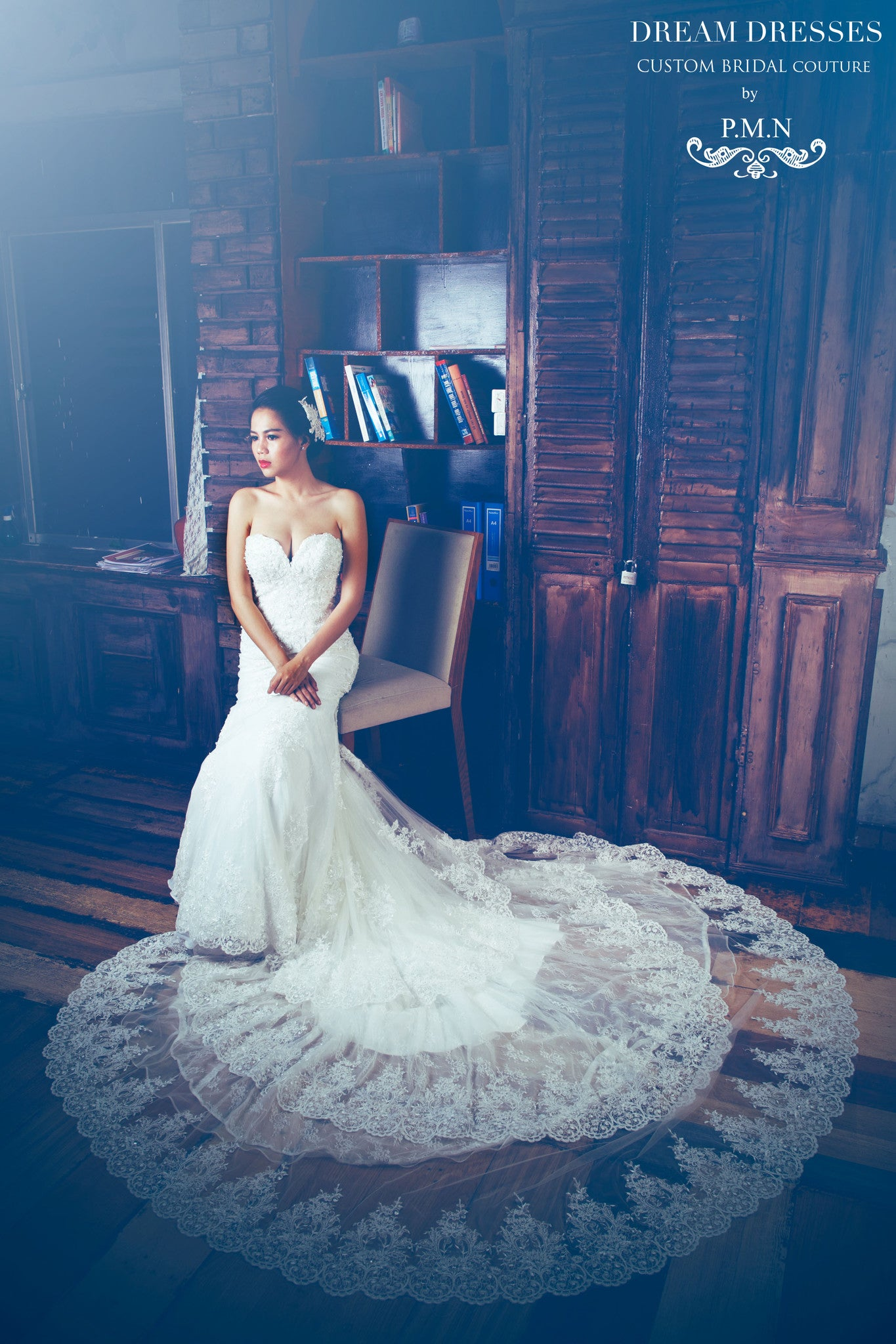 SAMPLE SALE/ Sweetheart Strapless Wedding Dress with Three Layer Long Train (# PB094) - Dream Dresses by P.M.N  - 5
