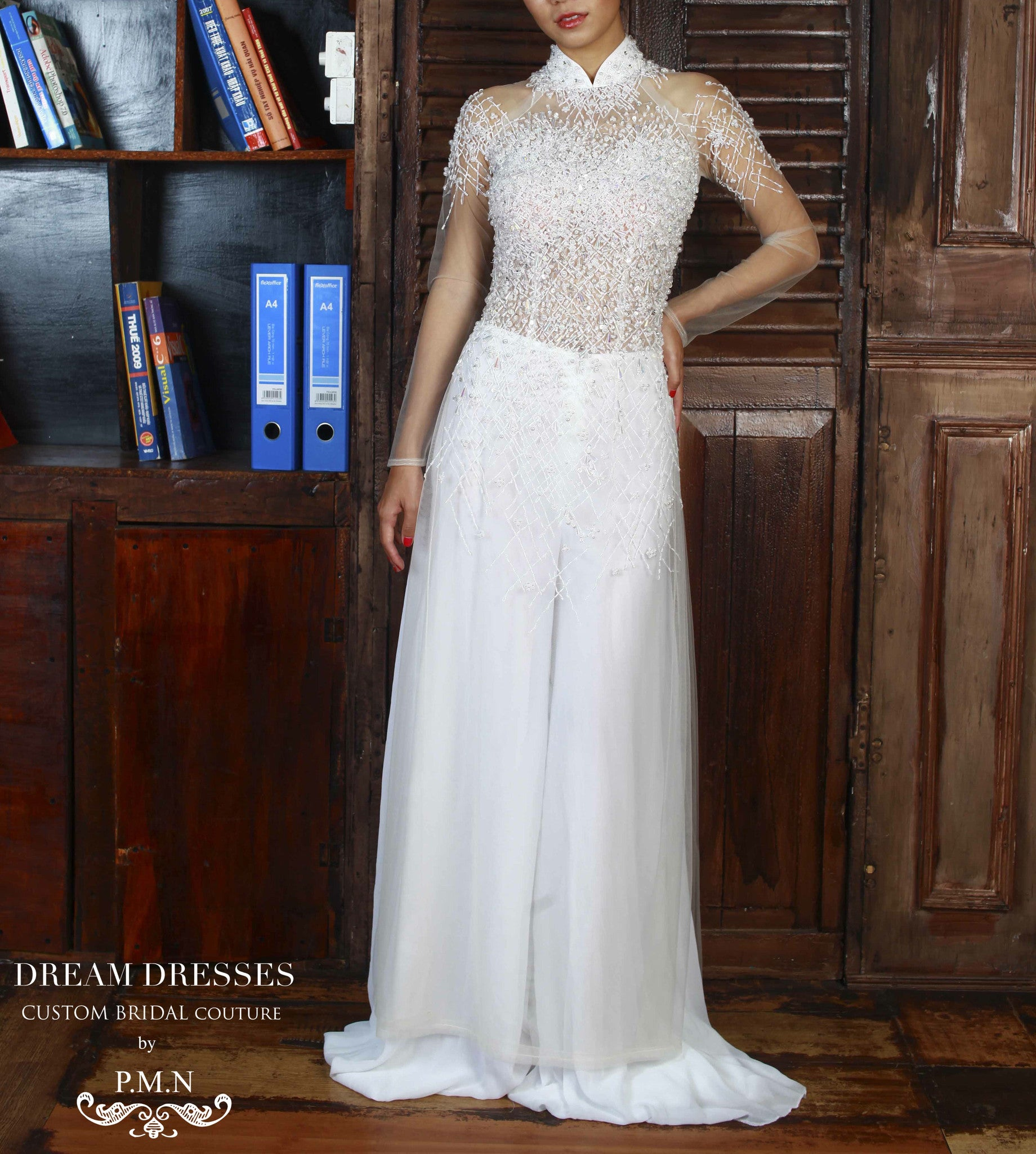 White Ao Dai | Vietnamese Bridal Dress with Hand-Beading (#ELYSE)
