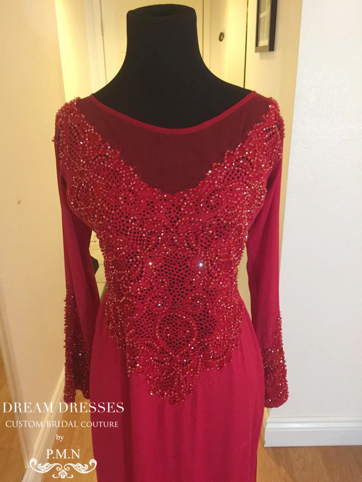 Red Ao Dai | Vietnamese Bridal Dress With Hand-Beading (#PHOEBE)