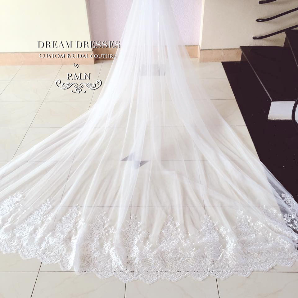 Couture Bridal Detachable Cathedral Tulle Train (#PB127)-Made To Order - Dream Dresses by P.M.N  - 2