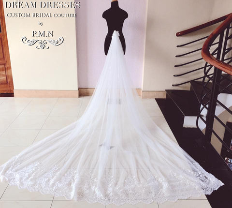 Couture Bridal Detachable Cathedral Tulle Train (#PB127)-Made To Order - Dream Dresses by P.M.N  - 1