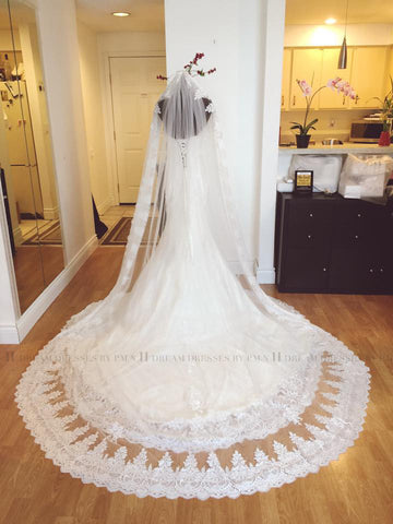 One Tier Rounded Cathedral 9.8 Ft Veil With Lace Appliqué Edge (#PB146) - Dream Dresses by P.M.N  - 1