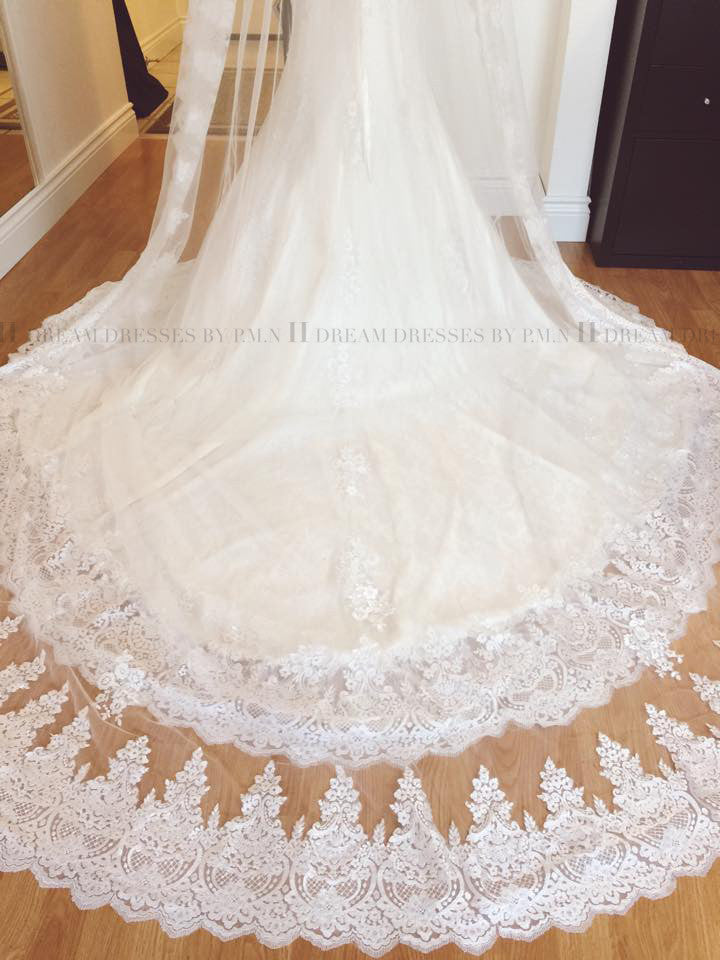 One Tier Rounded Cathedral 9.8 Ft Veil With Lace Appliqué Edge (#PB146)