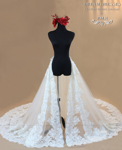 Bridal Detachable Cathedral Train With Two Layers of Lace Appliqué (Style #ANGIE PB153) - Dream Dresses by P.M.N  - 2