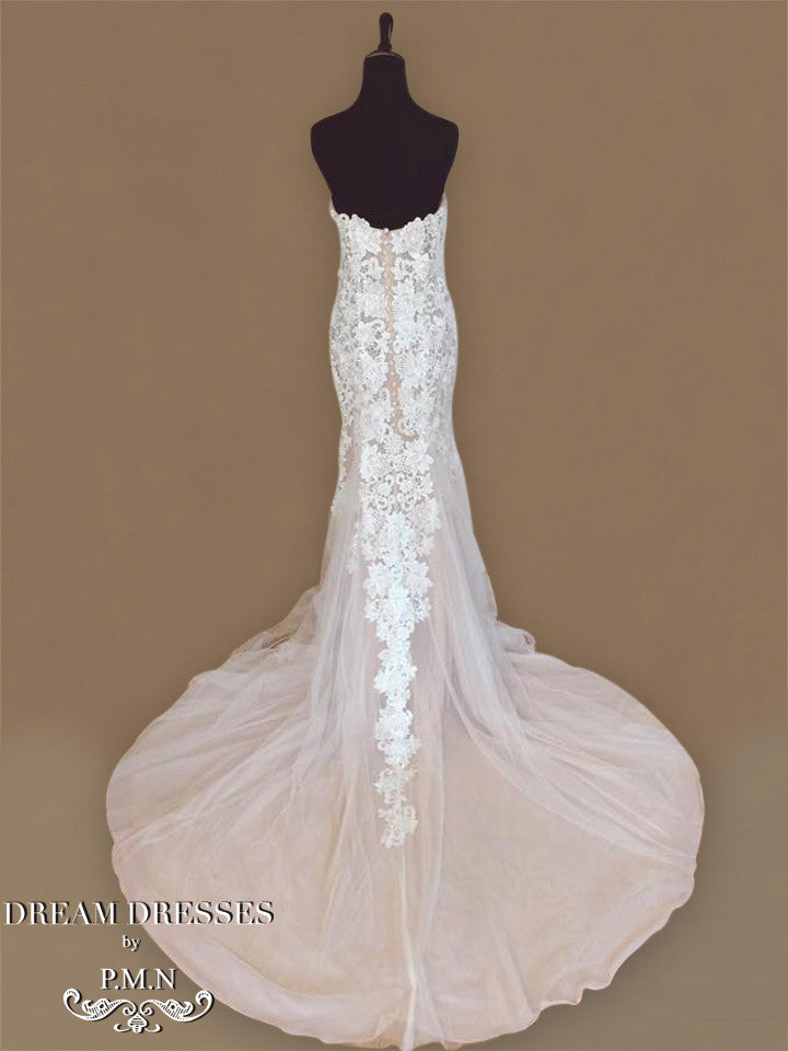Blush Pink Ivory Sheer Wedding Dress (Style #PB154) - Dream Dresses by P.M.N  - 5
