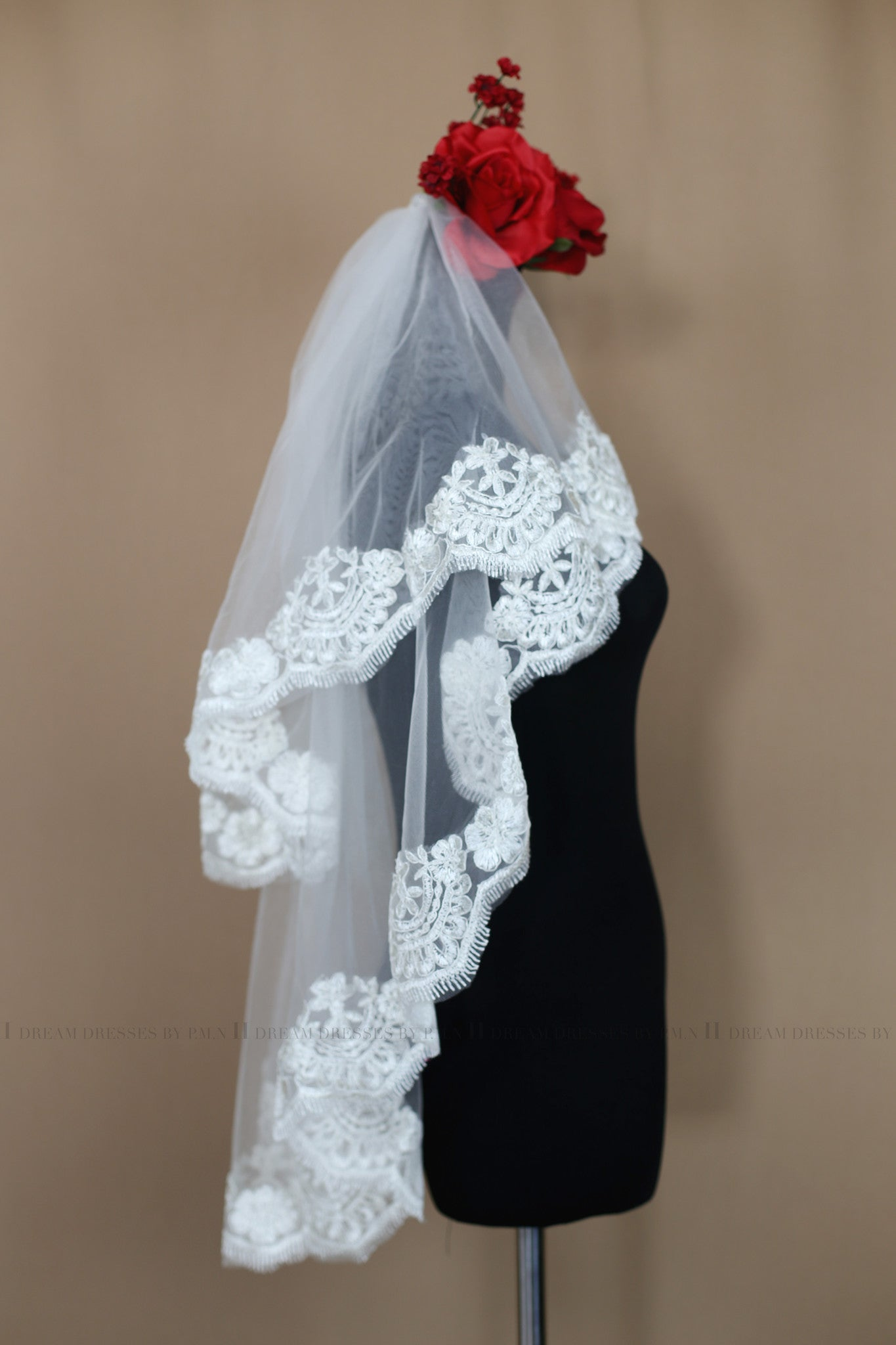 Two Tier Elbow Lace Veil With Blusher (Style # Angie PB159) - Dream Dresses by P.M.N  - 3