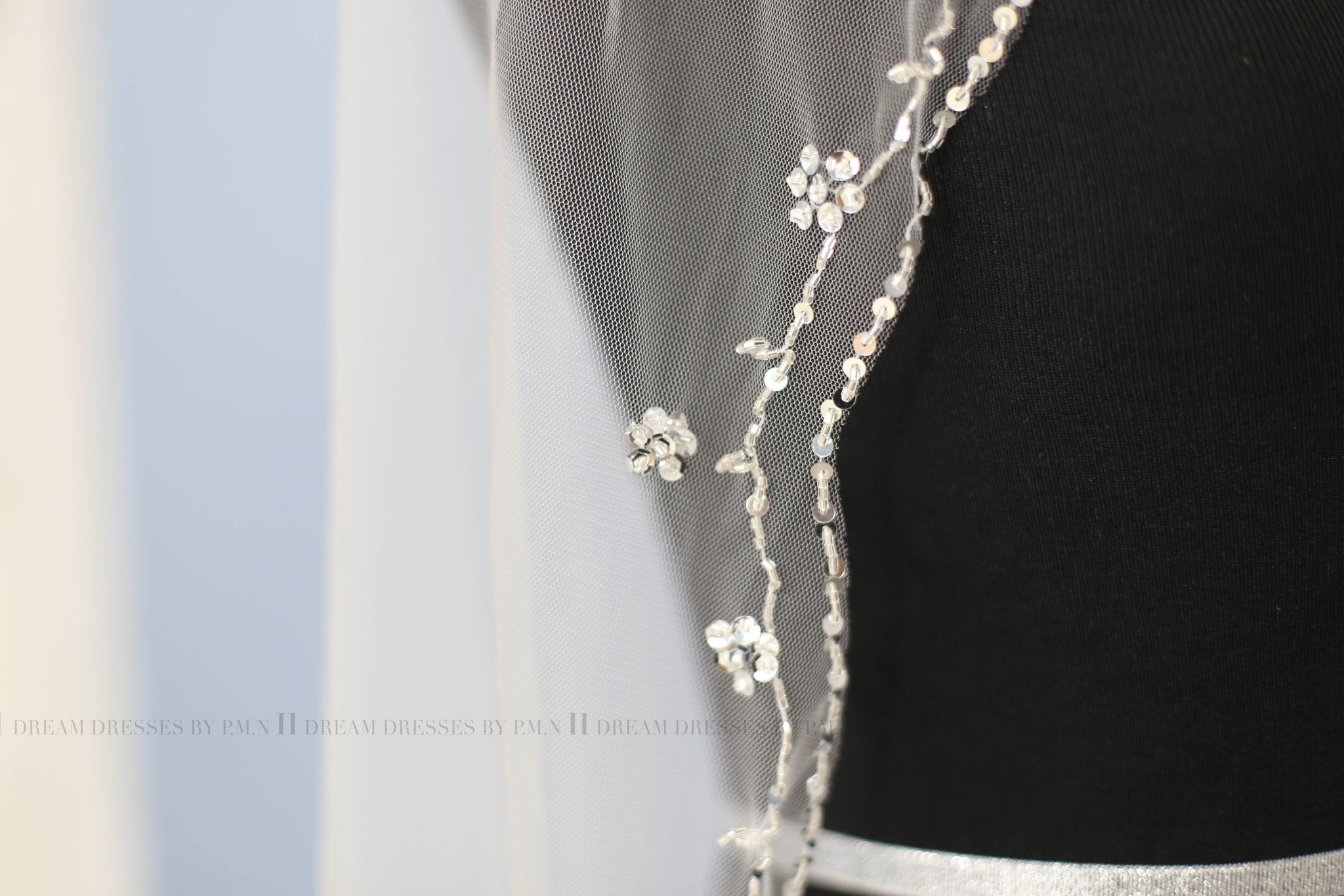Hand Beaded Bridal Veil Hip Length (Style #PB180) - Dream Dresses by P.M.N  - 9