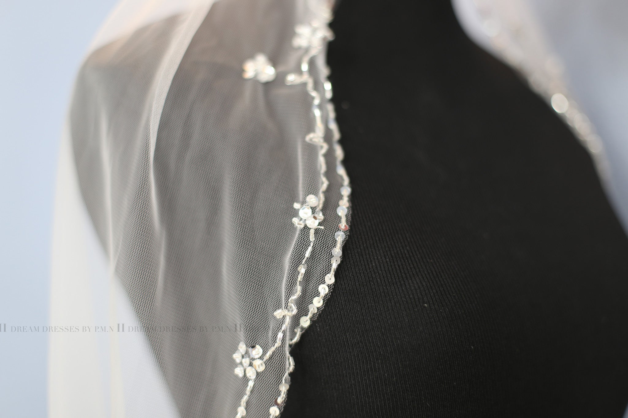 Hand Beaded Bridal Veil Hip Length (Style #PB180) - Dream Dresses by P.M.N  - 10