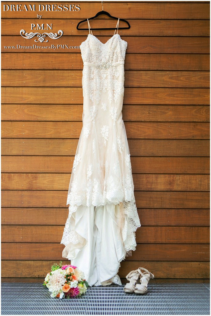 Blush Pink Ivory Mermaid Wedding Dress (#Mckenzie)
