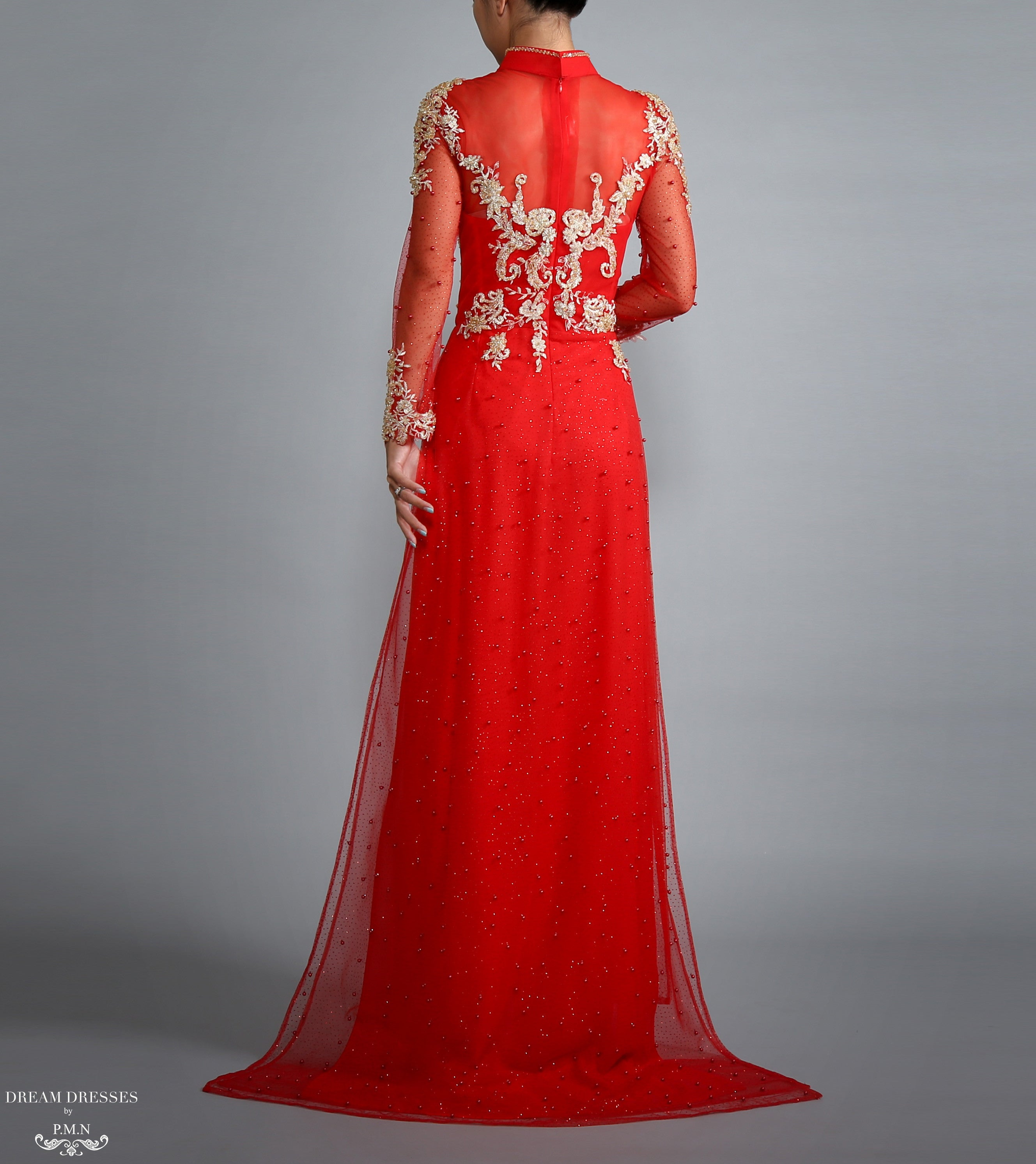 Red Ao Dai with Gold Lace | Vietnamese Lace Bridal Dress (#RAISSA)