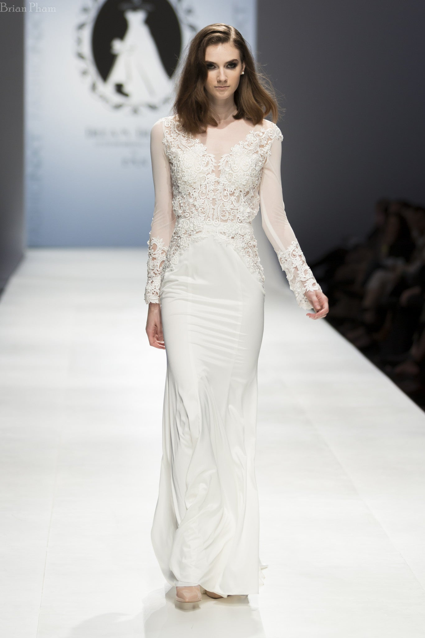 Modern Long Sleeve Wedding Dress (#SS16101) - Dream Dresses by P.M.N  - 2