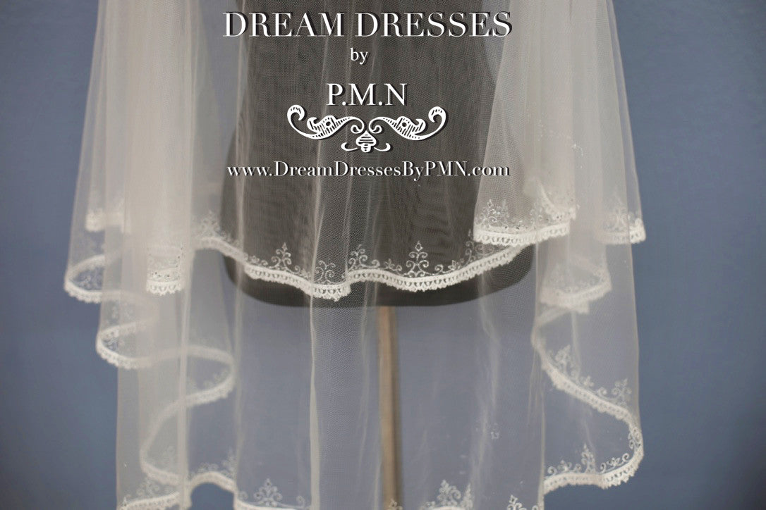 Hand-Painted Lace Bridal Veil (Style #SS16303) - Dream Dresses by P.M.N  - 3