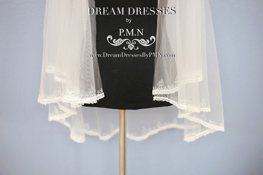 Hand-Painted Lace Bridal Veil (Style #SS16303) - Dream Dresses by P.M.N  - 5