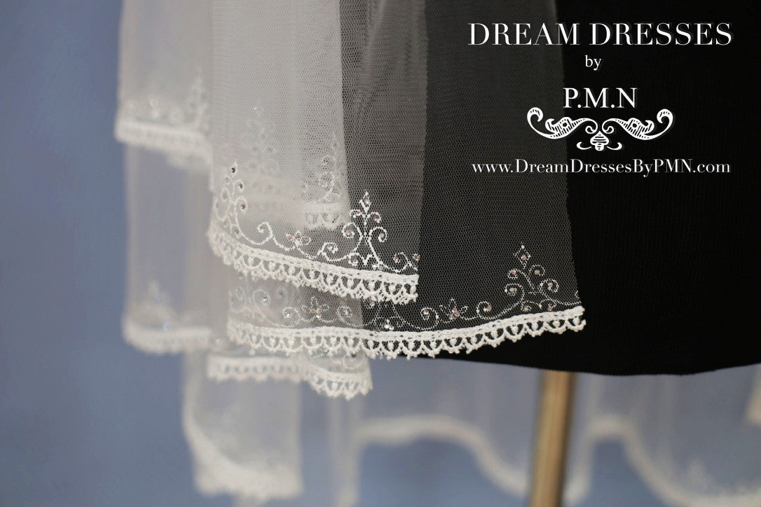 Hand-Painted Lace Bridal Veil (Style #SS16303) - Dream Dresses by P.M.N  - 6