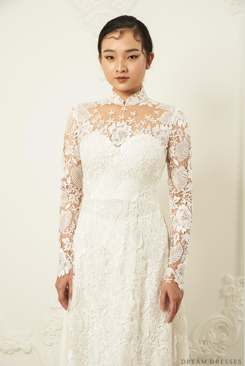 White Bridal Ao Dai | Traditional Vietnamese Lace Bridal Dress (#JAYLA)