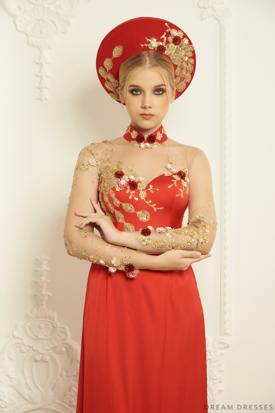 Red Bridal Ao Dai | Embellished Vietnamese Silk Bridal Dress (#NAYA)