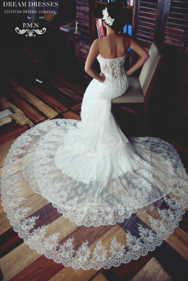 SAMPLE SALE/ Sweetheart Strapless Wedding Dress with Three Layer Long Train (# PB094) - Dream Dresses by P.M.N  - 7