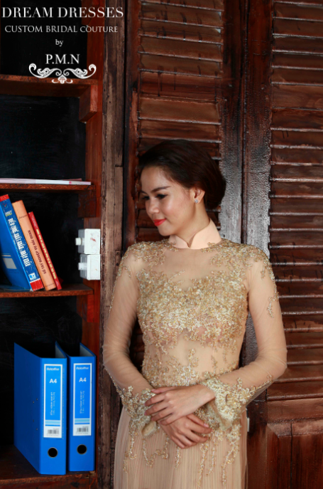 Champagne Ao Dai-Custom Made Vietnamese Bridal Dress (#PB103) - Dream Dresses by P.M.N  - 2