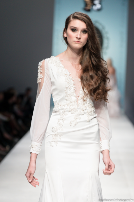 Silk Wedding Dress With Deep V-Neck (#SS16100) - Dream Dresses by P.M.N  - 2