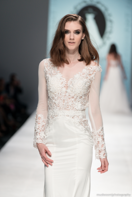 Modern Long Sleeve Wedding Dress (#SS16101) - Dream Dresses by P.M.N  - 3