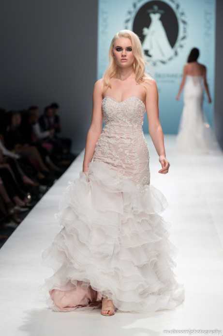 SAMPLE SALE/ Blush Pink Tiered Trumpet Wedding Dress  (#SS16103) - Dream Dresses by P.M.N  - 1