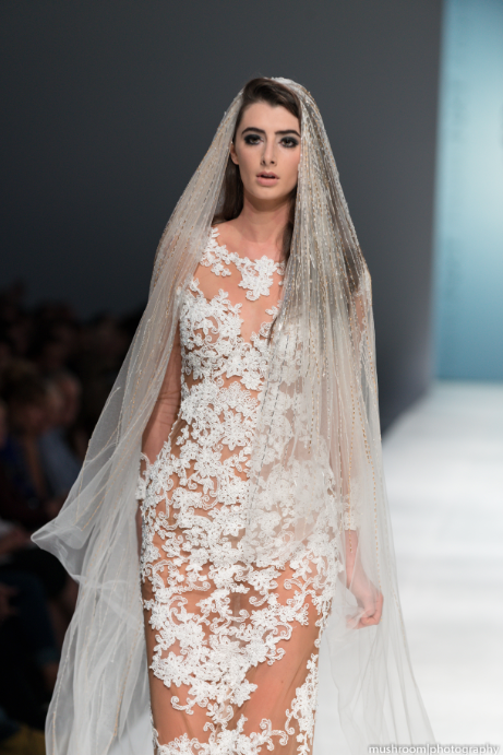 SAMPLE SALE/ Nude Sheath Dress With White Lace Appliqué (#SS16105) - Dream Dresses by P.M.N  - 2