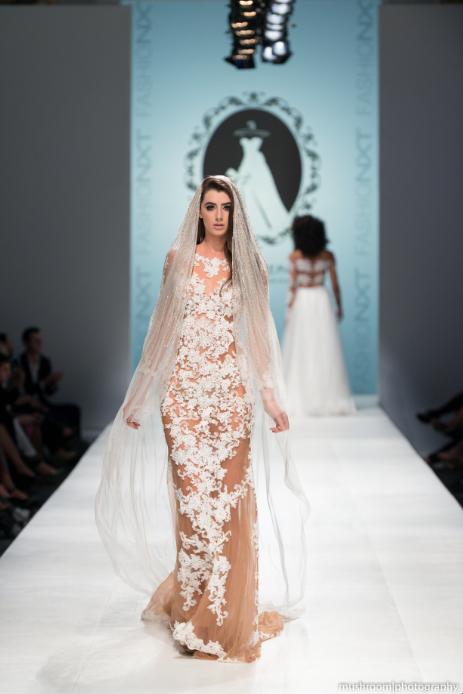 Nude Sheath Dress With White Lace Appliqué (#SS16105) - Dream Dresses by P.M.N  - 6