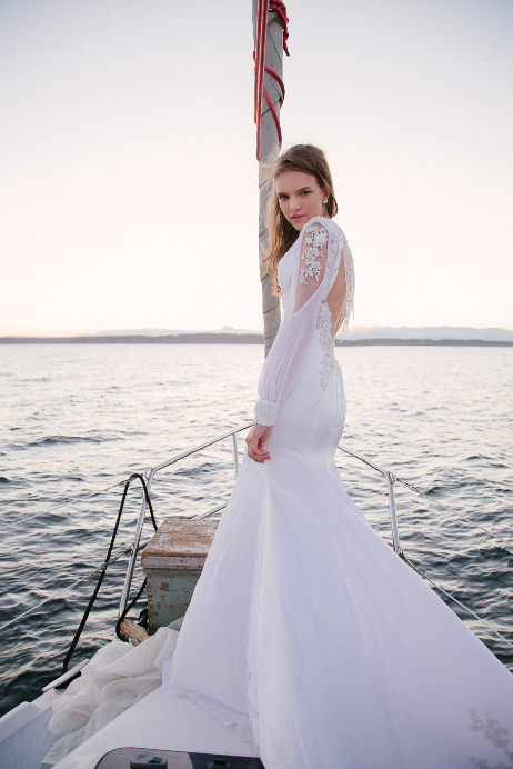SAMPLE SALE/ Silk Wedding Dress With Deep V-Neck (#SS16100) - Dream Dresses by P.M.N  - 2