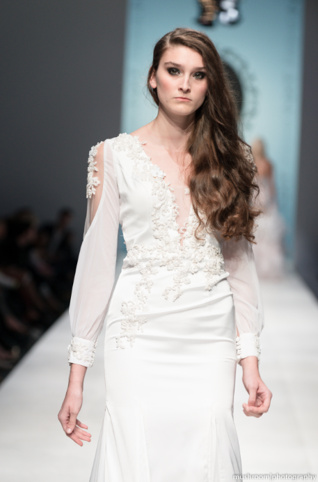SAMPLE SALE/ Silk Wedding Dress With Deep V-Neck (#Devany)