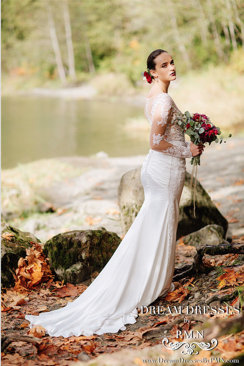 Long Sleeve Satin Wedding Dress (#Liliane)