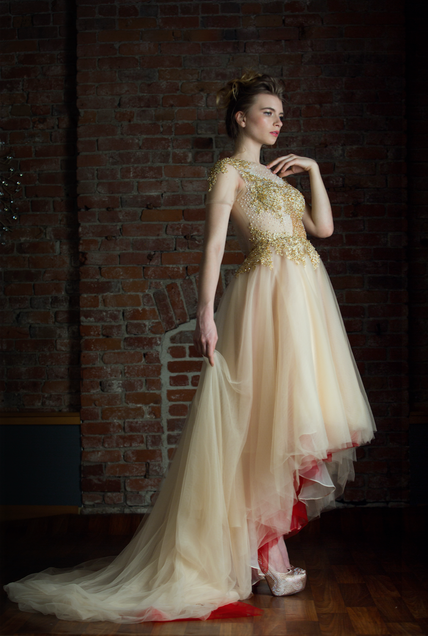Gold and Red High Low Gown (#Amber) - Dream Dresses by P.M.N  - 3