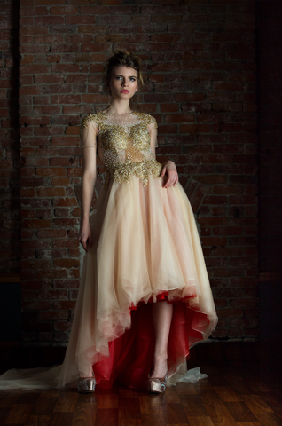 Gold and Red High Low Gown (#Amber) - Dream Dresses by P.M.N  - 1