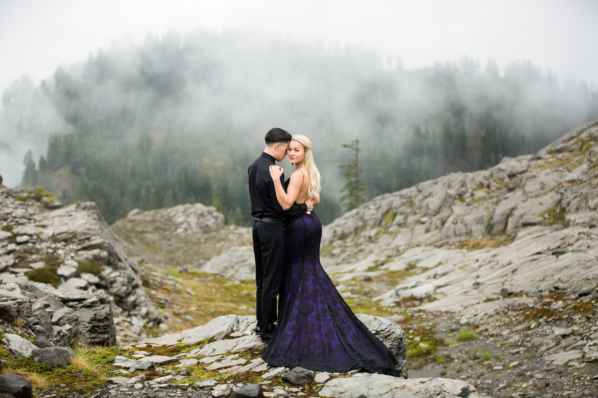 Detachable Black and Purple Gown (#Maia )